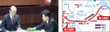新名神の全線着工決定や、地元の道路、交通網の整備を前田武志國土交通大臣(当時)に要望