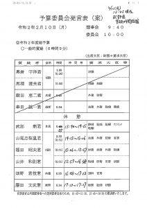 2/10 山井質問時間 変更のお知らせ